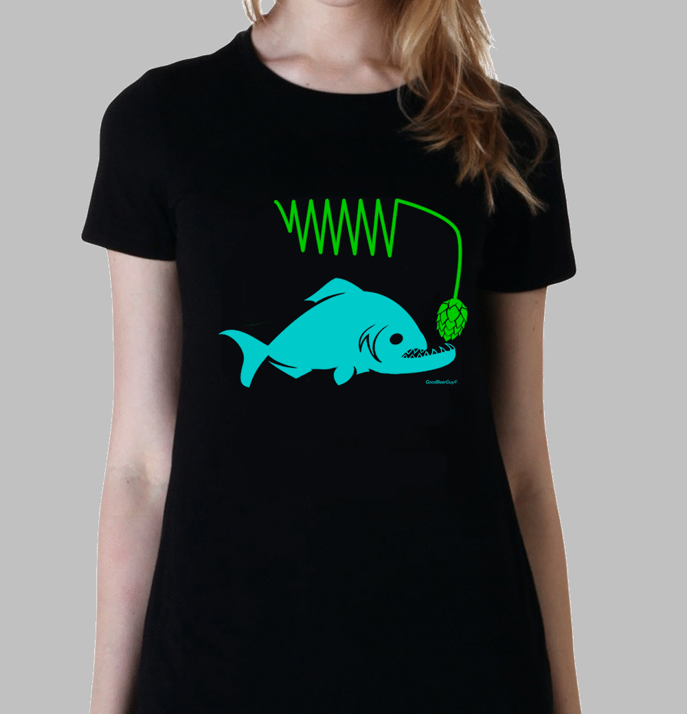 Hoppy Piranha women's beer t-shirt