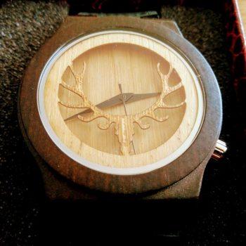 Houten Horloge Gewei hertenmotief