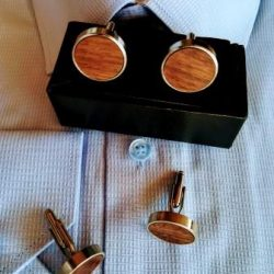 Walnut wooden cufflinks