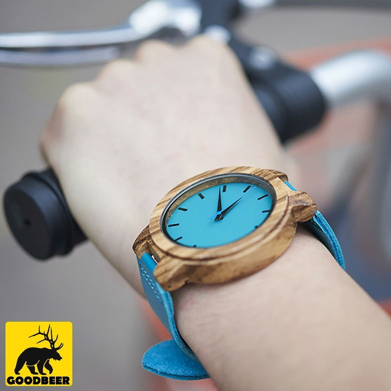 Blue wooden bamboo watch